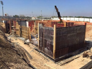 Concrete work beginning at FlyBox in Israel