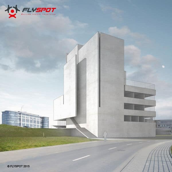 A rendering showing the building in detail.