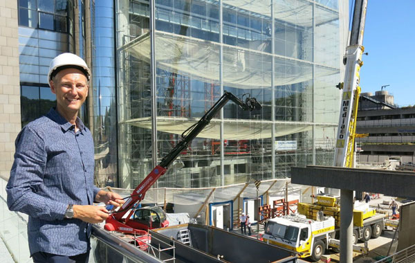 Photo from out front showing the atrium that iFLY Paris will be featured in.