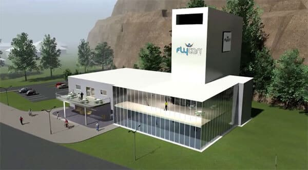 A rendering showing the future Gothenburg wind tunnel from ISG.
