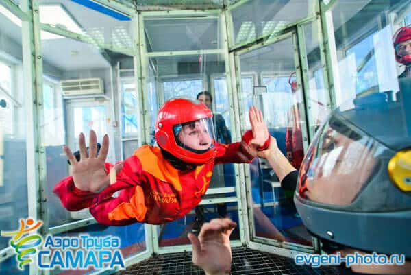 A photo of a first time flyer in this Russian vertical wind tunnel.