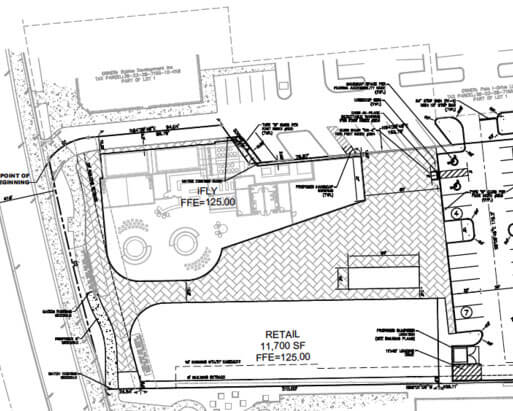 A drawing showing the future iFLY Orlando 2 location and confirming the dual flight chambers.