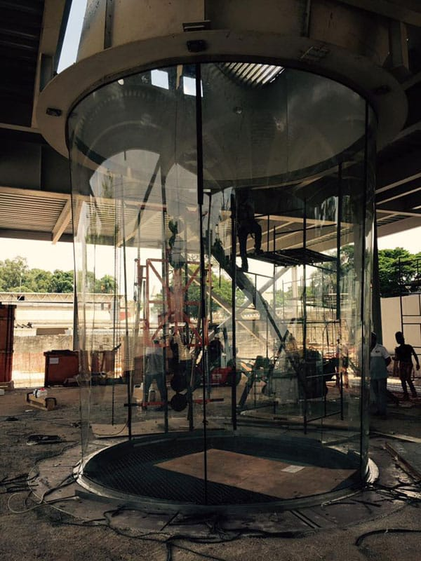 Glass being installed at iFLY Sao Paulo.