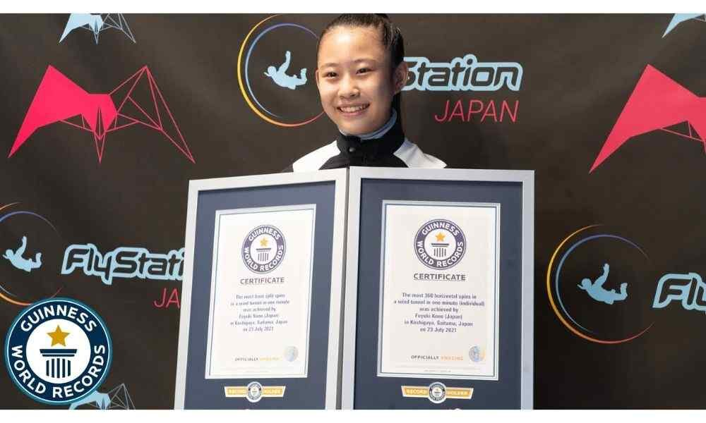 13-year-old girl receiving Guiness World Record at Flystation, Japan